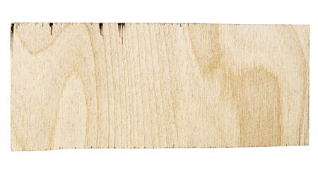 Rectangular piece of birch plywood with a natural texture. Isolated on white background Stock Photo