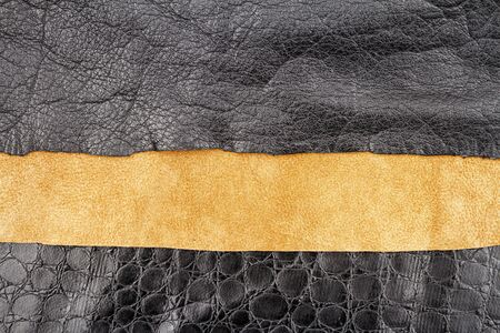 Brown and black leather and artificial alligator skin textures background. Foto de archivo