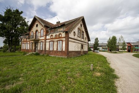 Old abandoned, nineteenth century house in Lithuania Stock Photo