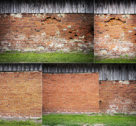 Collection of images with red brick wall background with green grass 版權商用圖片