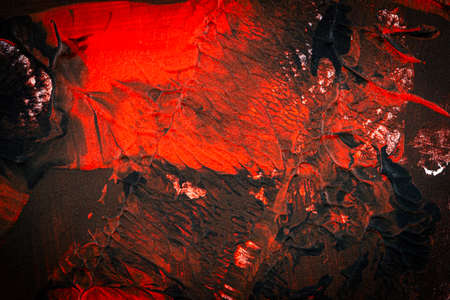 Black and red hand painted acrylic background. Grunge acrylic texture with painted dots and brush strokes. 版權商用圖片