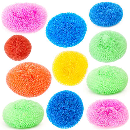 Collection of vibrant plastic scourers isolated on white background
