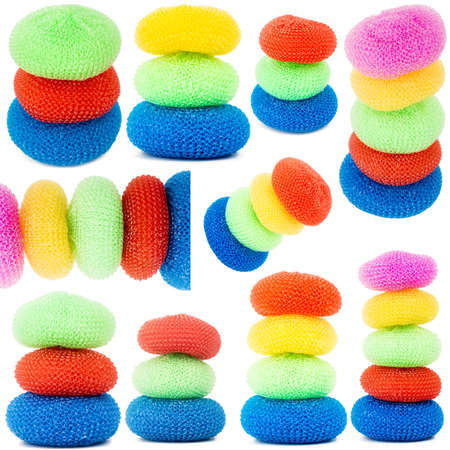 Collection of images with towers of vibrant plastic scourers isolated on white background