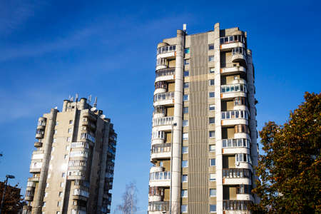 Soviet concrete apartment buildings in Vilnius, Lithuania. Apartment blocks. Soviet architecture.