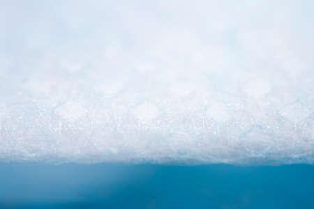 Protective, disposable light blue face mask. Extreme close-up macro photography. Selective focus. Foto de archivo