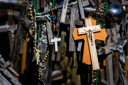 Close up shot of crosses in the Hill of Crosses a famous site of pilgrimage in northern Lithuania. Foto de archivo
