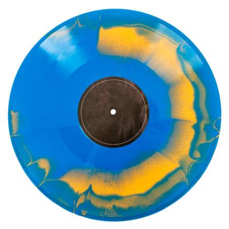 Blue and orange swirl vinyl record isolated on white background