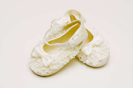 ruche: BabyS Boots With Bow and Ruche  Stock Photo