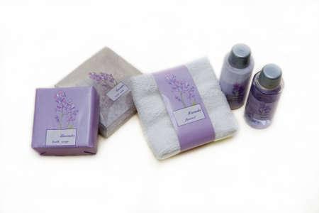 flannel: Lavender salt, flannel, shower gel and lotion