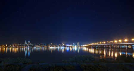 right bank: Right bank of Dnepropetrovsk - lights in the night river Stock Photo