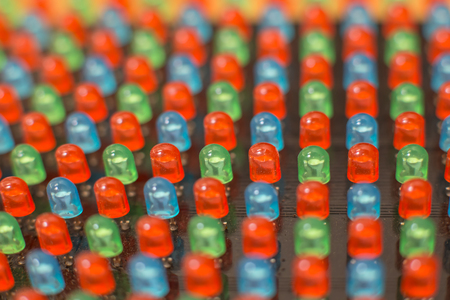 diodes: light-emitting dip diodes og the LED screen - close up macro picture Stock Photo