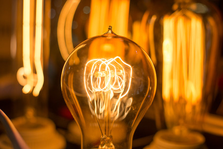 Spiral Glowing Led filament cob lamp - macro photo