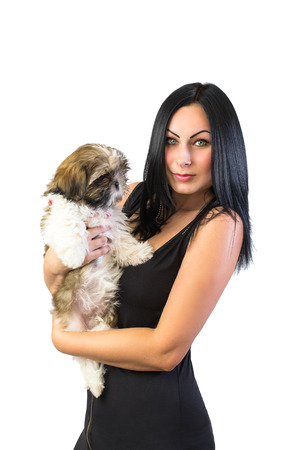 shihtzu: Woman with little shih-tzu puppy - isolated on white