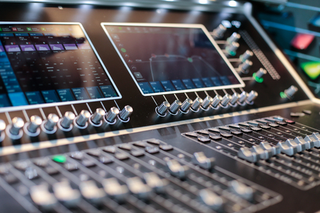 Screens of the stage controller with switchers - blurred closeup background Stock Photo