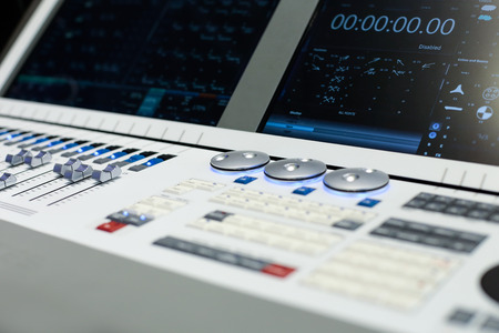 Large panel of the white Hi-End stage controller - closeup background Stock Photo - 55212380