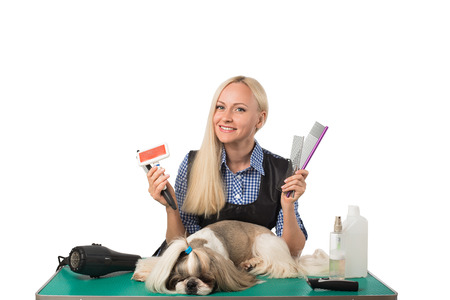 groomer: Beautiful smiling woman groomer with different combs and cute shih-tzu dog - isolated on white Stock Photo