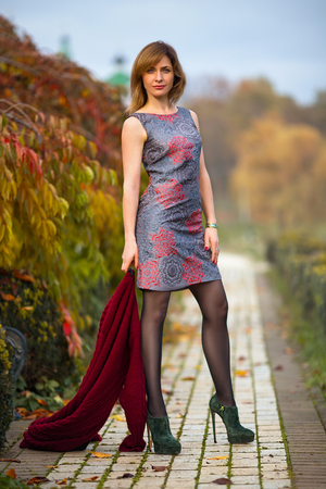 Perfect woman in the dress and high heels posing in the autumn park. Beauty makeup portrait. Reklamní fotografie - 88901350