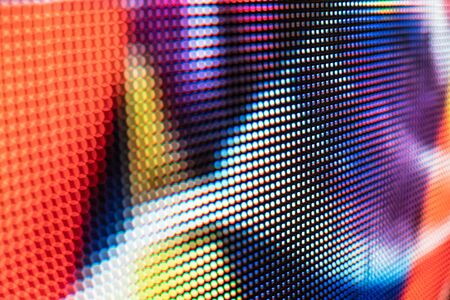 Bright colored LED video wall with high saturated pattern - close up background with shallow depth of field Фото со стока - 131606274