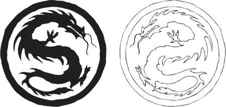 2 つの白黒の中国のドラゴン