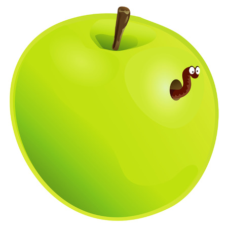 Apple with wormhole isolated Illustration