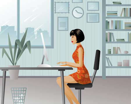 Girl working in a big office Illustration