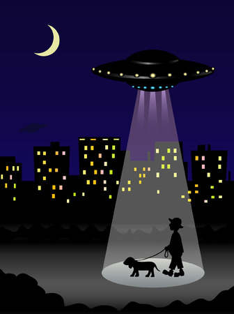 UFO kidnapping a man and his dog Vector