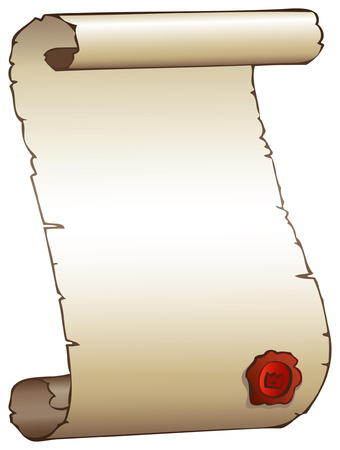 parchment scroll: Old parchment scroll with a seal