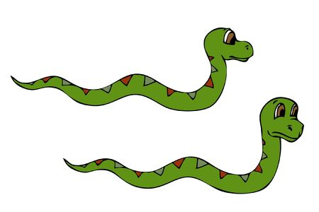 Two cartoon snakes