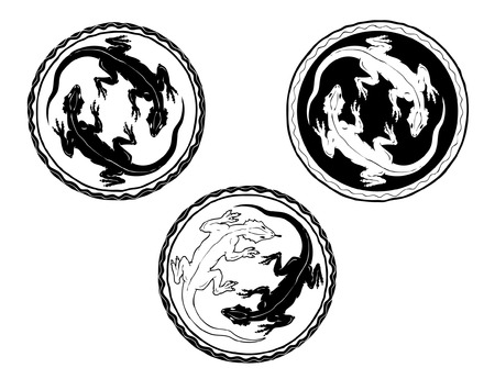 Two stylized lizards in a circle Illustration
