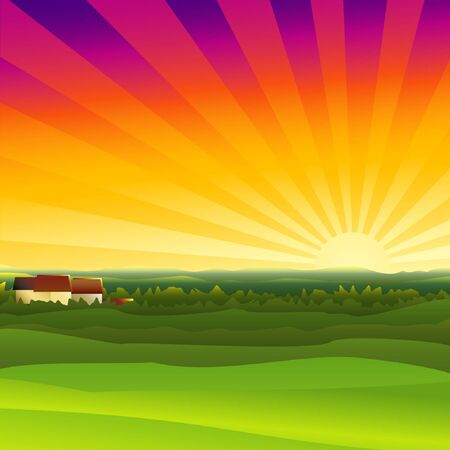 A small farm in the evening Illustration