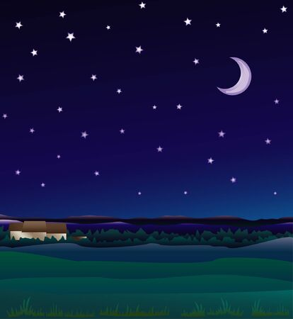 in midnight: Midnight countryside background Illustration