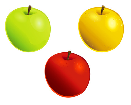 3 apples of different colours Illustration