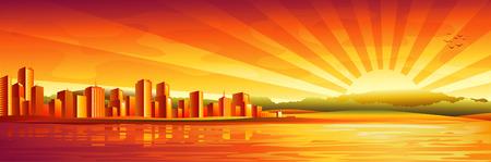 Gran ciudad atardecer panorama Ilustración de vector