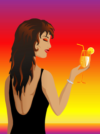 cloudless: Woman holding a cocktail Illustration
