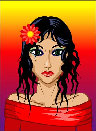 sunburned: Portrait of a girl on tropical background Illustration