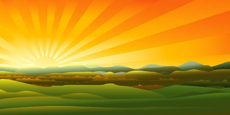 Mountains sunset landscape  Illustration