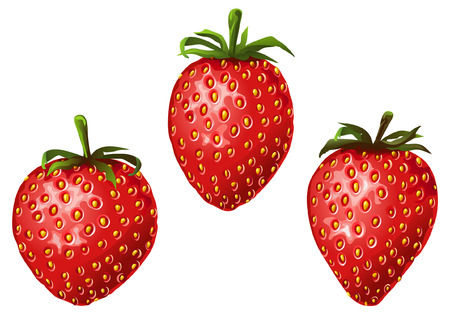 greengrocery: 3 strawberries (isolated) Illustration