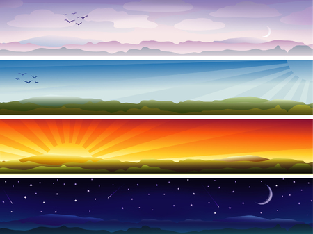 Four banners showing day cycle