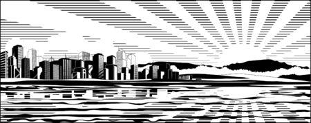 Black and white cityscape (colored version  Illustration