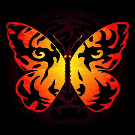 untamed: Tiger-colored butterfly Illustration