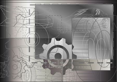 Technological auto wireframe background