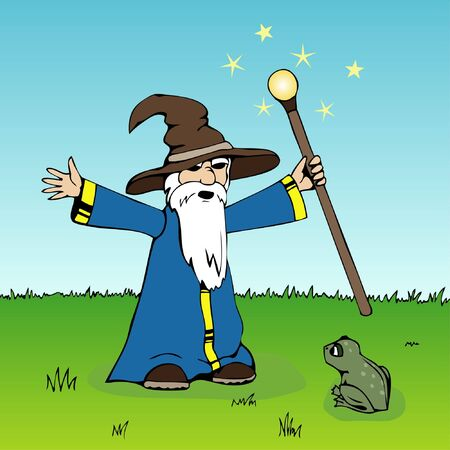 Wizard casting spell at a frog (or is it a former black dragon?...)