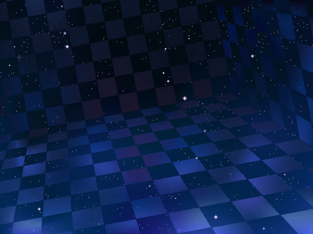 Space background with three-dimensional chessboard in foreground