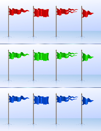 Set of 12 various flagpoles Vector