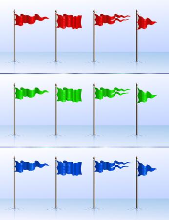 flagpoles: Set of 12 various flagpoles