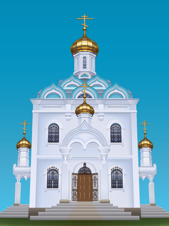 Russian orthodox church with typical golden onion domes Vector