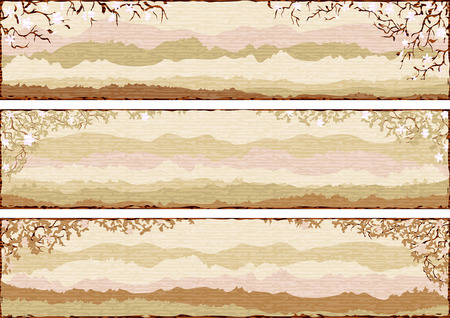 Set of three retro-styled framed landscapes with the imitation of rough textured paper  Illustration