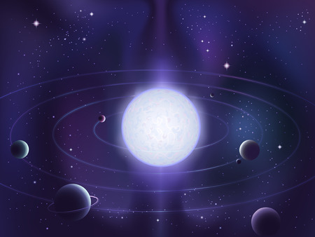 Planets orbiting around a bright white star Illustration