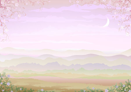 pink hills: Light and tranquil morning landscape with floral border (other landscapes are in my gallery)