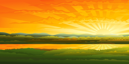mountain holidays: Beautiful sunset over a river Illustration